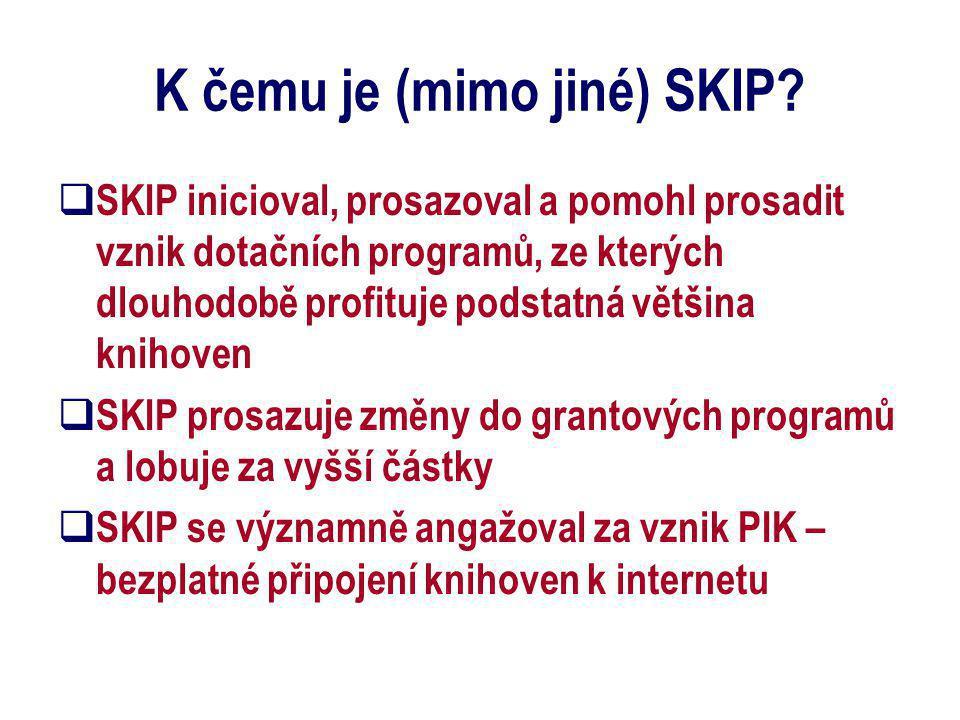 K čemu je (mimo jiné) SKIP?  SKIP inicioval, prosazoval a pomohl prosadit vznik dotačních programů, ze kterých dlouhodobě profituje podstatná většina