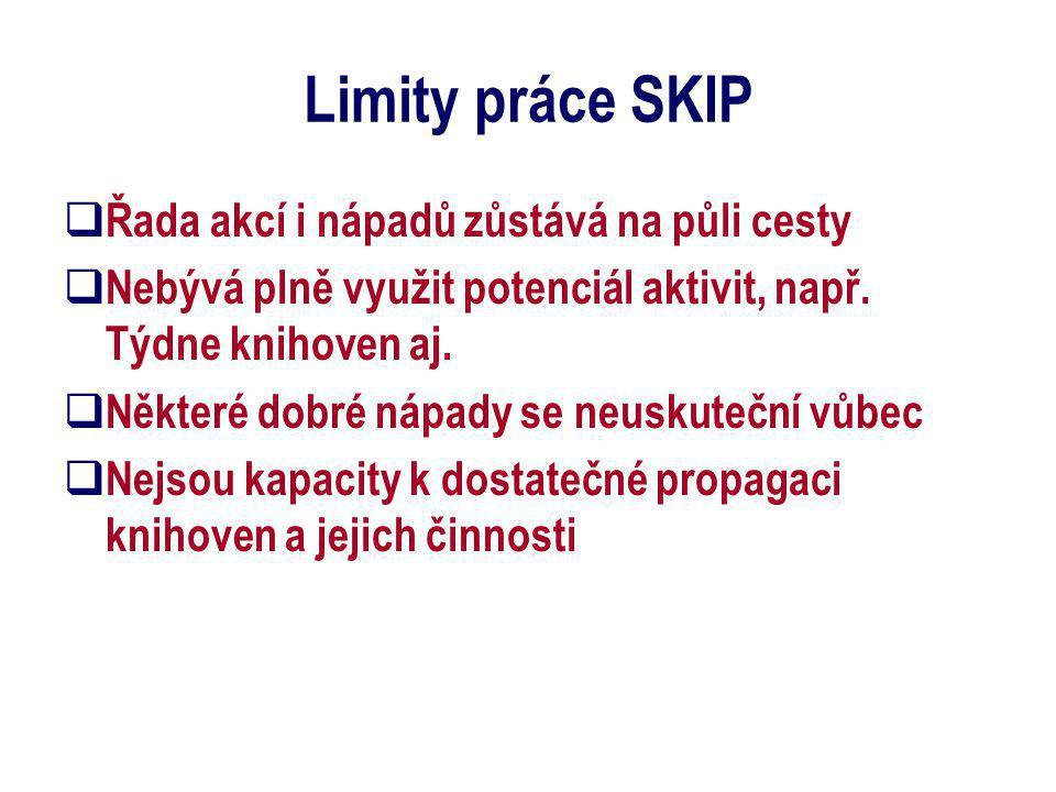 Limity práce SKIP  Chybí kapacity na aktivní shánění sponzorů  Vázne distribuce materiálů  Nelze se ucházet o velké granty  strukturální fondy EU, lidské zdroje  Není možný vstup do zahraničních projektů