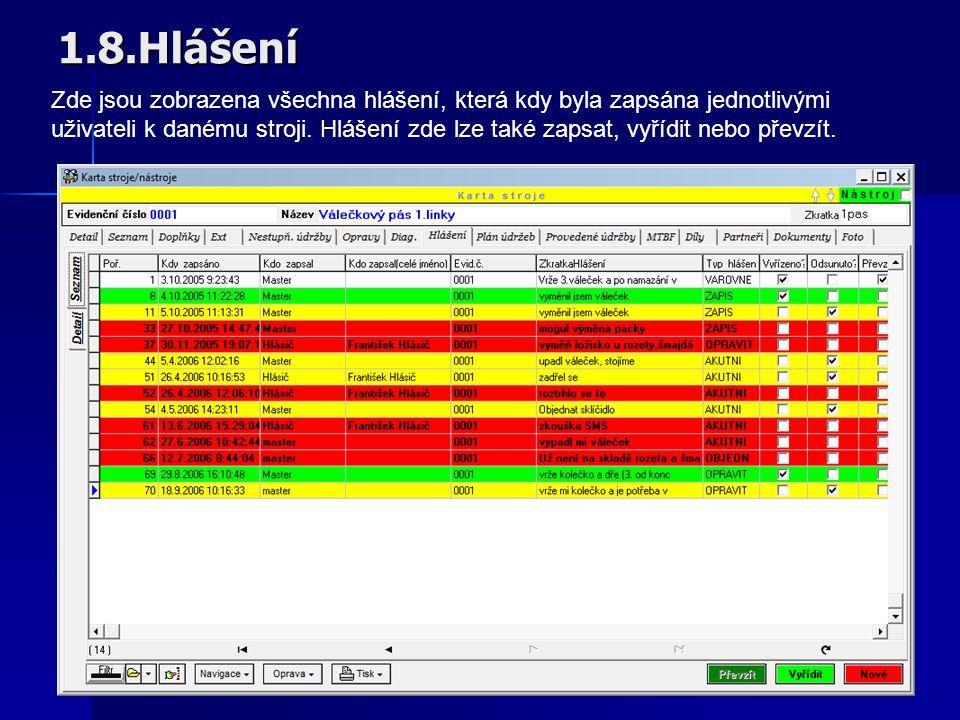 1.7.Provedené údržby Zapsaná a uložená provedená údržba je nyní zobrazena na záložce Provedené údržby