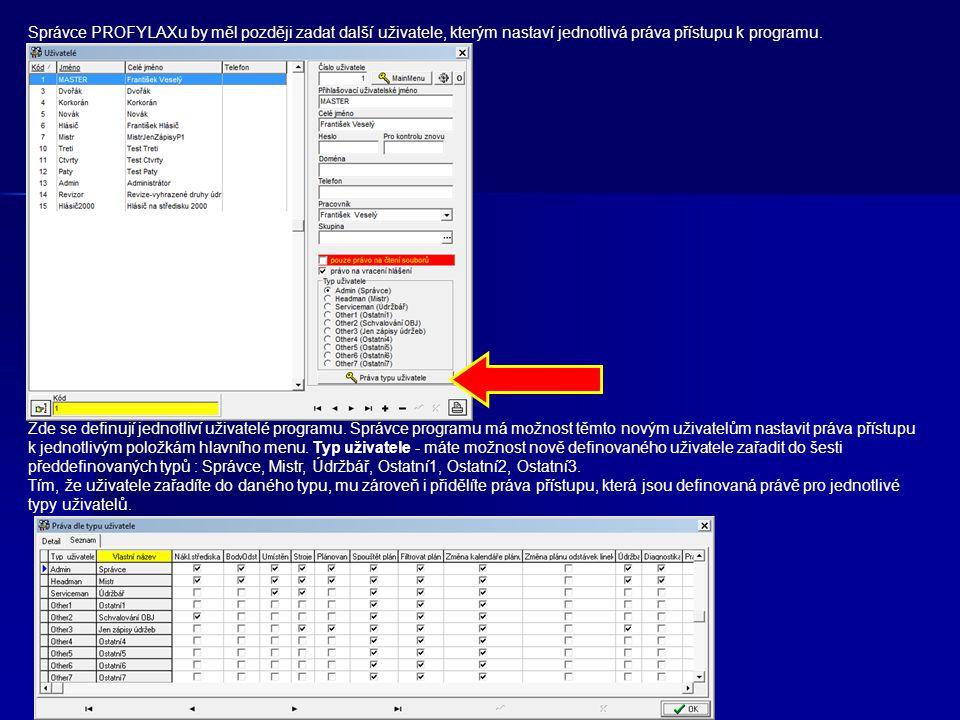 Správce PROFYLAXu by měl později zadat další uživatele, kterým nastaví jednotlivá práva přístupu k programu.