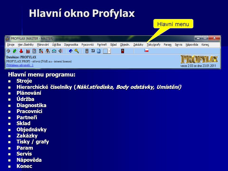 Hlavní okno Profylax Hlavní menu programu:  Stroje  Hierarchické číselníky (Nákl.střediska, Body odstávky, Umístění)  Plánování  Údržba  Diagnostika  Pracovníci  Partneři  Sklad  Objednávky  Zakázky  Tisky / grafy  Param  Servis  Nápověda  Konec Hlavní menu