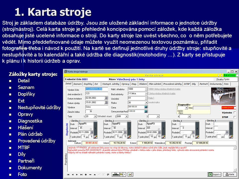 Hlavní okno Profylax Hlavní menu programu:  Stroje  Hierarchické číselníky (Nákl.střediska, Body odstávky, Umístění)  Plánování  Údržba  Diagnost