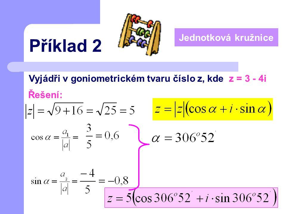 Příklad 2 Vyjádři v goniometrickém tvaru číslo z, kde z = 3 - 4i Řešení: Jednotková kružnice