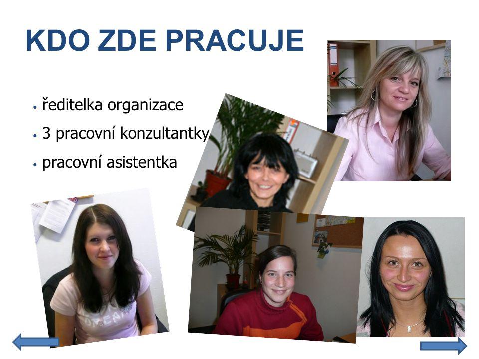 KDO ZDE PRACUJE • ředitelka organizace • 3 pracovní konzultantky • pracovní asistentka