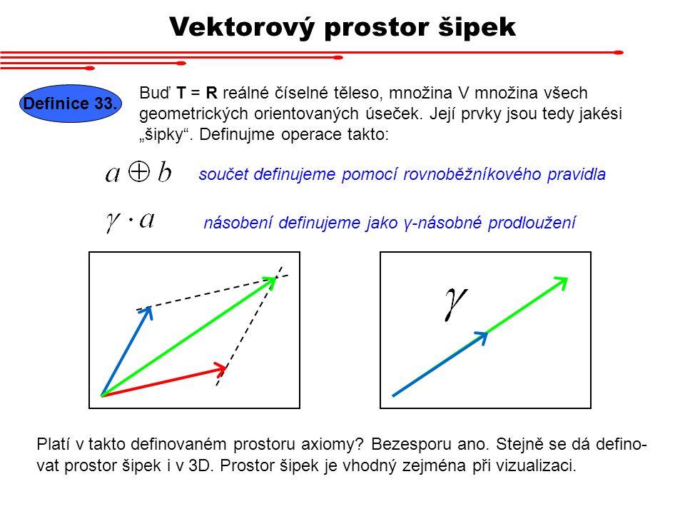 """Vektorový prostor šipek Buď T = R reálné číselné těleso, množina V množina všech geometrických orientovaných úseček. Její prvky jsou tedy jakési """"šipk"""