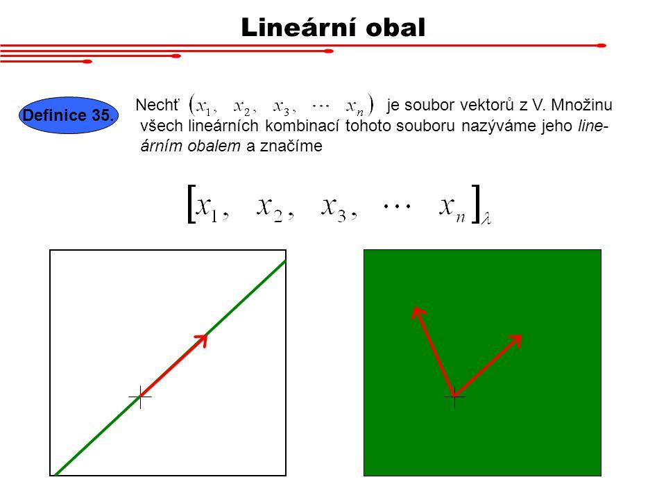 Lineární obal Nechť Definice 35. je soubor vektorů z V. Množinu všech lineárních kombinací tohoto souboru nazýváme jeho line- árním obalem a značíme