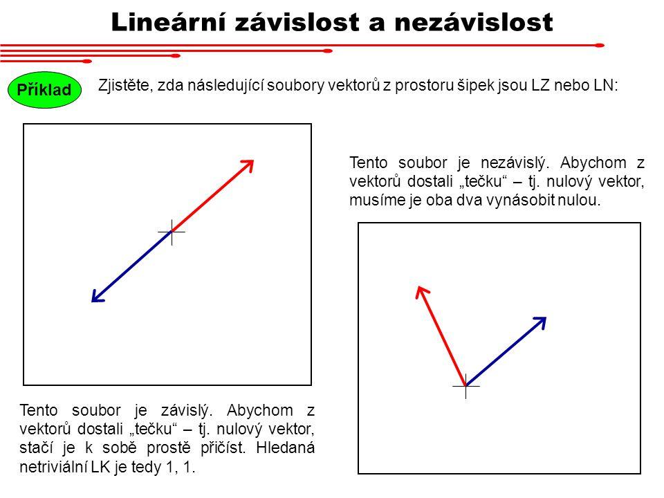 Lineární závislost a nezávislost Příklad Zjistěte, zda následující soubory vektorů z prostoru šipek jsou LZ nebo LN: Tento soubor je závislý. Abychom