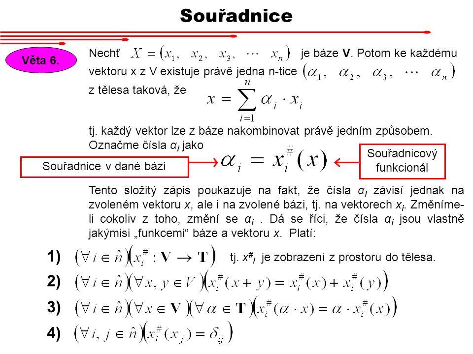 Souřadnice Věta 6. Nechť vektoru x z V existuje právě jedna n-tice z tělesa taková, že je báze V. Potom ke každému tj. každý vektor lze z báze nakombi