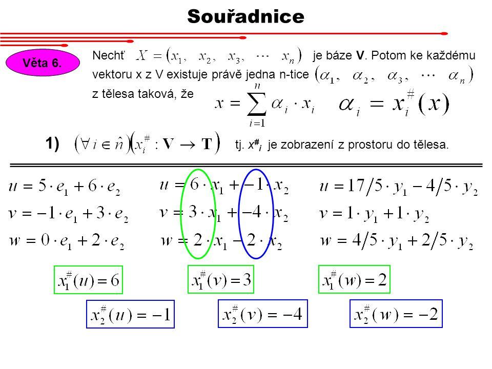 Věta 6. Nechť vektoru x z V existuje právě jedna n-tice z tělesa taková, že je báze V. Potom ke každému tj. x # i je zobrazení z prostoru do tělesa. 1
