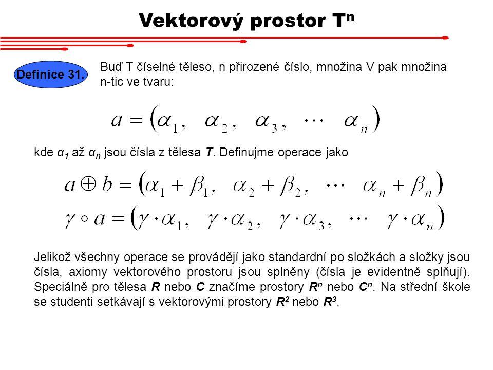 Vektorový prostor T n Buď T číselné těleso, n přirozené číslo, množina V pak množina n-tic ve tvaru: Definice 31. kde α 1 až α n jsou čísla z tělesa T