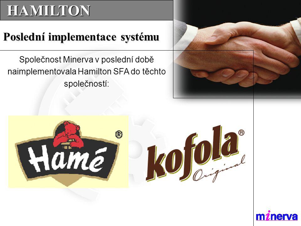 HAMILTON HAMILTON Poslední implementace systému Společnost Minerva v poslední době naimplementovala Hamilton SFA do těchto společností: