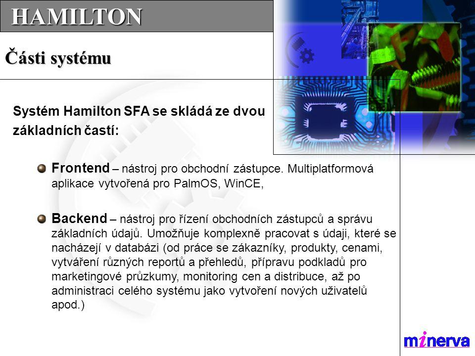 Systém se skládá z více modulů Kliknutím začneme s modulem pracovat HAMILTON HAMILTON Základní obrazovka FrontEnd  Produkty – seznam a informace o produktech  Zákazníci – seznam a informace o zákaznících  Plány – vytvoření a plánovaní obchodních tras  Jízdy – kniha jízd  Náklady – kniha nákladů  Reporty – textové zprávy o výsledcích práce  Aktivity – přehled aktivit  Přímý prodej – aplikace pro VanSales  Synchronizace – výměna a přenos dat.