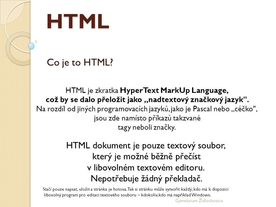 Gymnázium Židlochovice Kostra dokumentu Každý HTML dokument by měl mít určitou strukturu.
