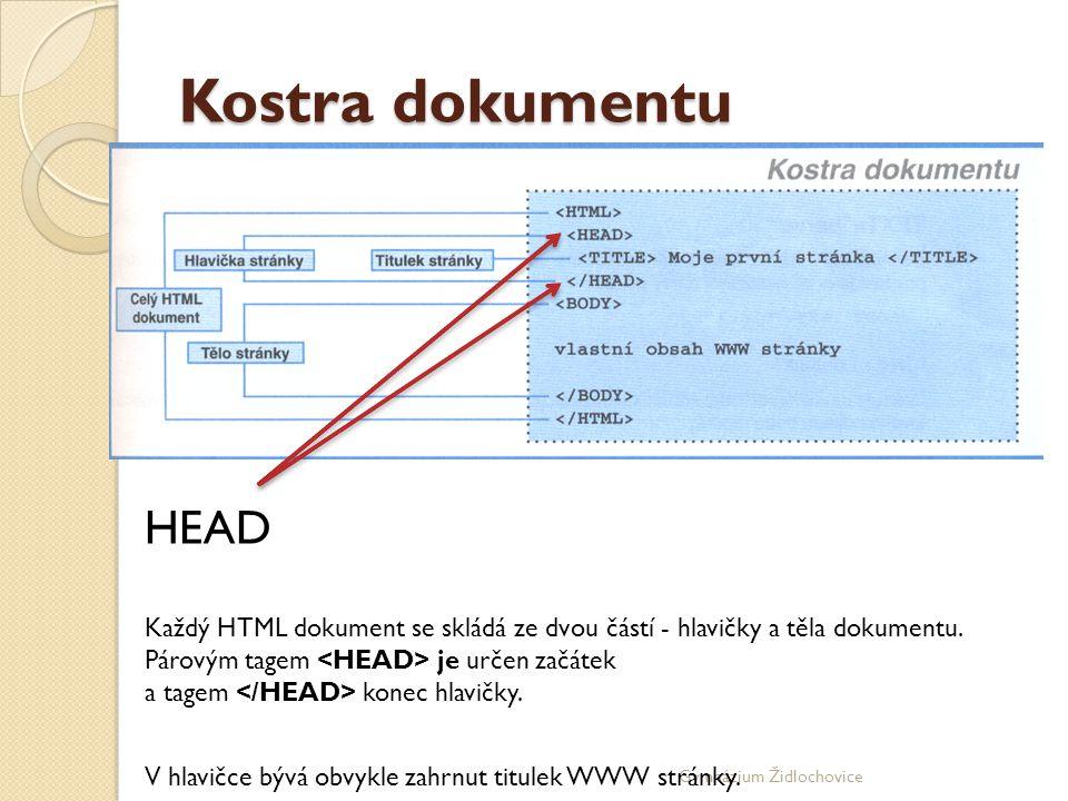 Gymnázium Židlochovice Kostra dokumentu HEAD Každý HTML dokument se skládá ze dvou částí - hlavičky a těla dokumentu.