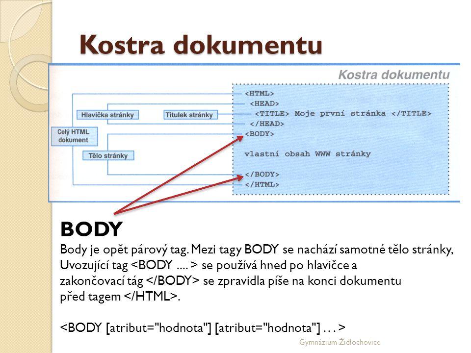 Gymnázium Židlochovice Kostra dokumentu BODY Body je opět párový tag.