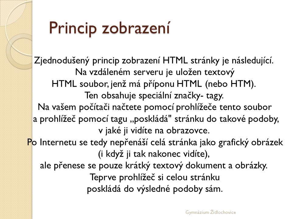 Gymnázium Židlochovice CO VŠECHNO MŮŽE HTML DOKUMENT OBSAHOVAT • Běžný formátovaný text - běžný text formátovaný různými barvami, velikostmi, řezem apod.