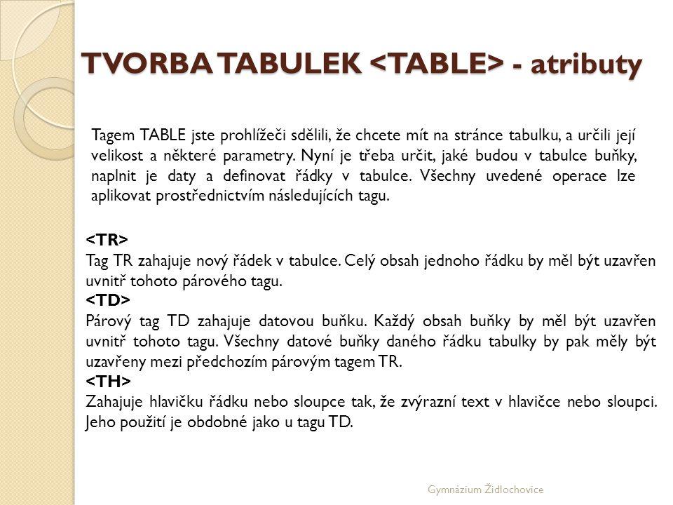 Gymnázium Židlochovice TVORBA TABULEK - atributy Tagem TABLE jste prohlížeči sdělili, že chcete mít na stránce tabulku, a určili její velikost a některé parametry.