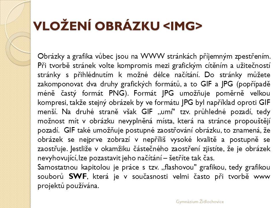 Gymnázium Židlochovice VLOŽENÍ OBRÁZKU VLOŽENÍ OBRÁZKU Obrázky a grafika vůbec jsou na WWW stránkách příjemným zpestřením.