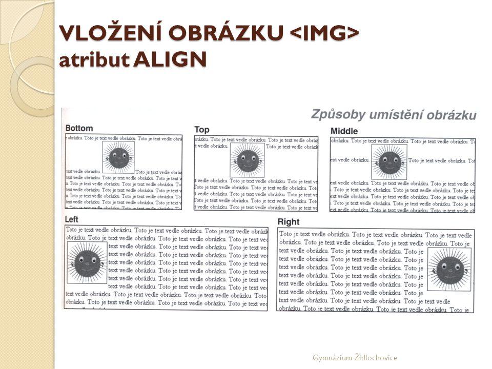 Gymnázium Židlochovice VLOŽENÍ OBRÁZKU atribut ALIGN
