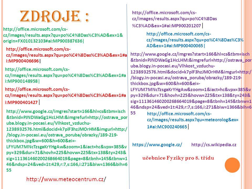 učebnice Fyziky pro 8. třídu ZDROJE : http://office.microsoft.com/cs- cz/images/results.aspx?qu=po%C4%8Das%C3%AD&ex=1& origin=FX010132103#ai:MP9003876