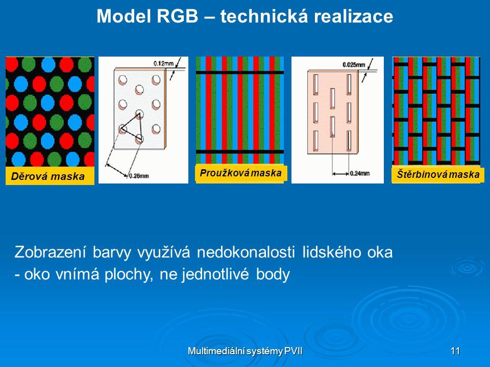 Multimediální systémy PVII 11 Model RGB – technická realizace Zobrazení barvy využívá nedokonalosti lidského oka - oko vnímá plochy, ne jednotlivé bod