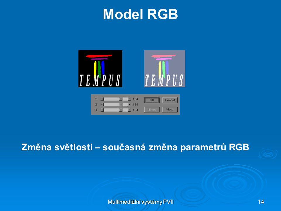 Multimediální systémy PVII 14 Model RGB Změna světlosti – současná změna parametrů RGB