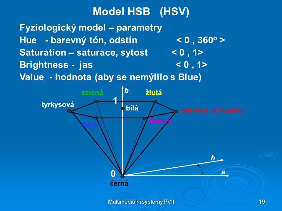 Multimediální systémy PVII 19 Model HSB (HSV) Fyziologický model – parametry Hue - barevný tón, odstín Saturation – saturace, sytost Brightness - jas