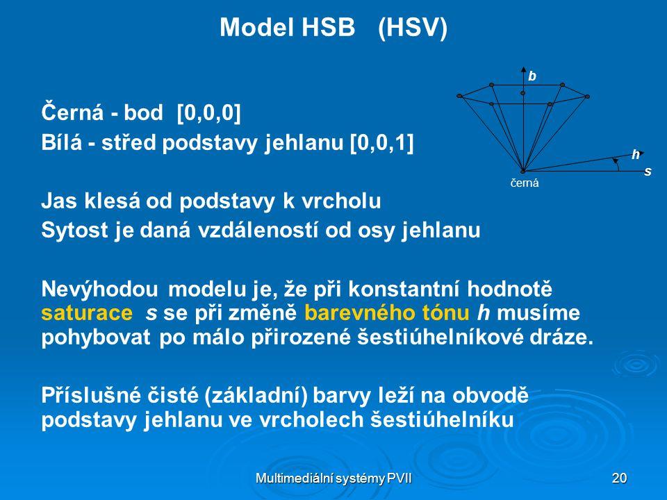 Multimediální systémy PVII 20 Model HSB (HSV) Černá - bod [0,0,0] Bílá - střed podstavy jehlanu [0,0,1] Jas klesá od podstavy k vrcholu Sytost je daná