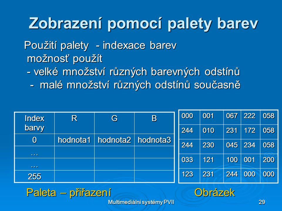 Multimediální systémy PVII29 Zobrazení pomocí palety barev Použití palety - indexace barev možnosť použít možnosť použít - velké množství různých bare