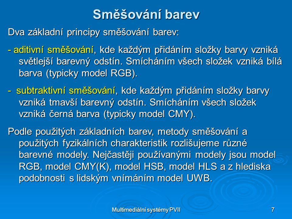 Multimediální systémy PVII28 Model UWB Při práci s černobílými obrazy, t.j.