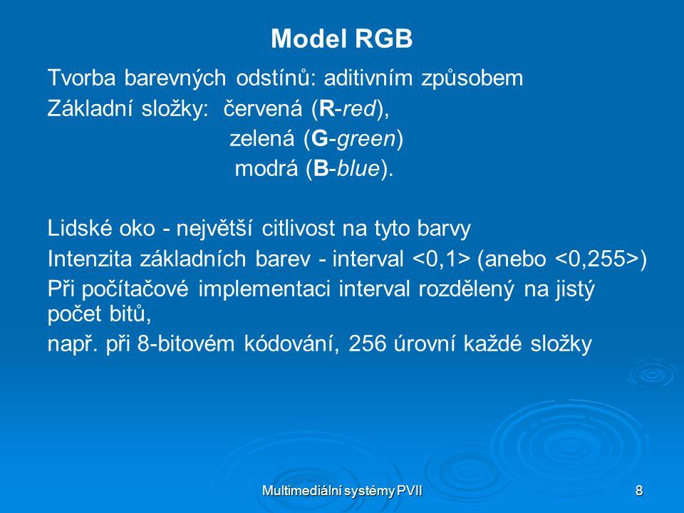 Multimediální systémy PVII 19 Model HSB (HSV) Fyziologický model – parametry Hue - barevný tón, odstín Saturation – saturace, sytost Brightness - jas Value - hodnota (aby se nemýlilo s Blue) b černá tyrkysová zelená žlutá červená (0 stupňů) bílá fialová modrá h s 0 1