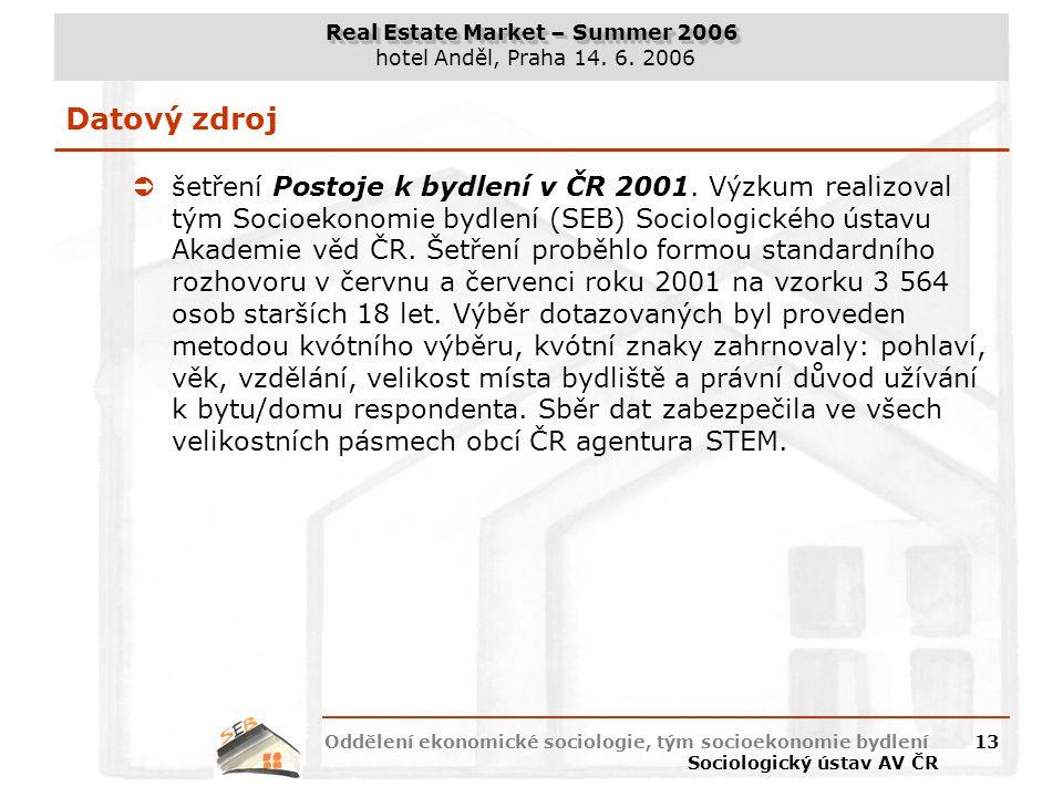 Real Estate Market – Summer 2006 hotel Anděl, Praha 14. 6. 2006 Oddělení ekonomické sociologie, tým socioekonomie bydlení Sociologický ústav AV ČR 13