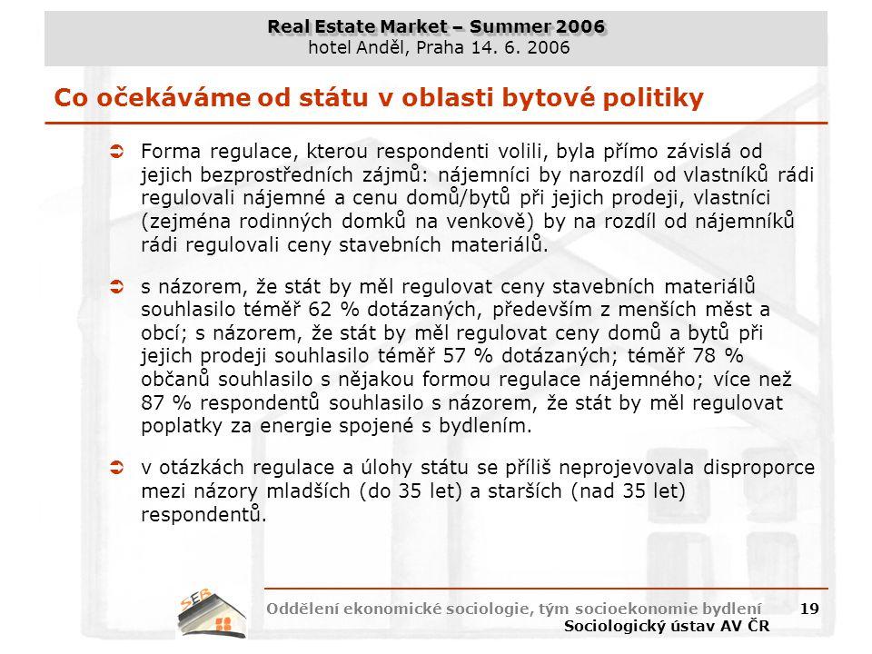 Real Estate Market – Summer 2006 hotel Anděl, Praha 14. 6. 2006 Oddělení ekonomické sociologie, tým socioekonomie bydlení Sociologický ústav AV ČR 19