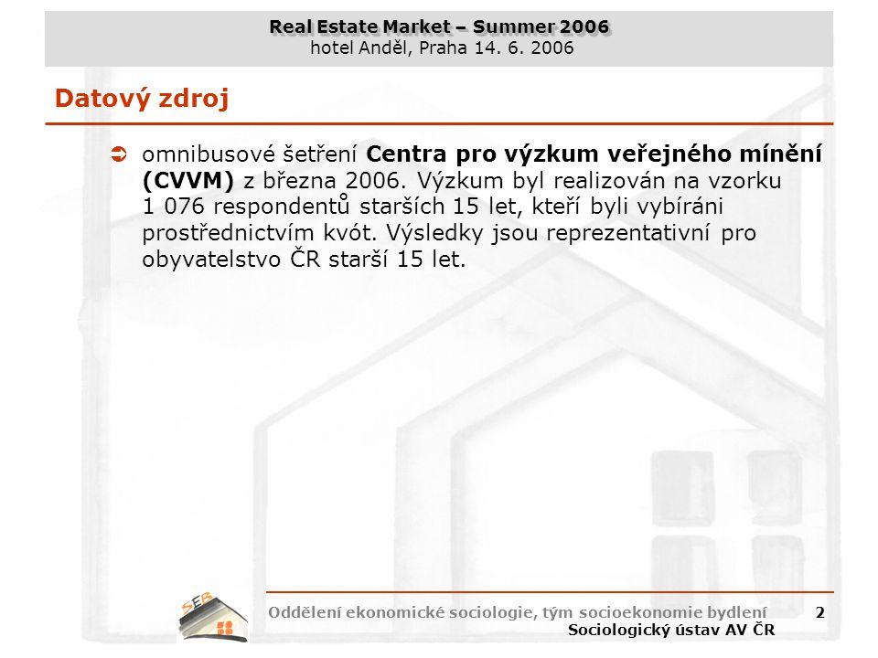 Real Estate Market – Summer 2006 hotel Anděl, Praha 14. 6. 2006 Oddělení ekonomické sociologie, tým socioekonomie bydlení Sociologický ústav AV ČR 2 D