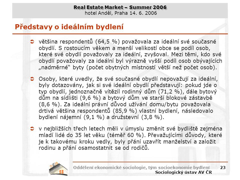Real Estate Market – Summer 2006 hotel Anděl, Praha 14. 6. 2006 Oddělení ekonomické sociologie, tým socioekonomie bydlení Sociologický ústav AV ČR 23