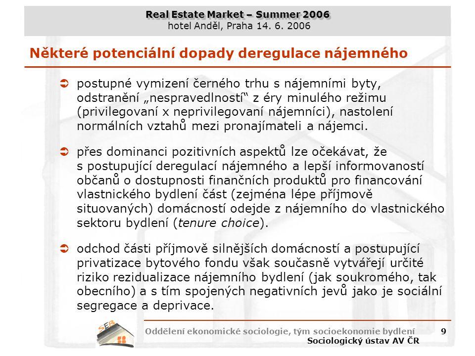 Real Estate Market – Summer 2006 hotel Anděl, Praha 14. 6. 2006 Oddělení ekonomické sociologie, tým socioekonomie bydlení Sociologický ústav AV ČR 9 N