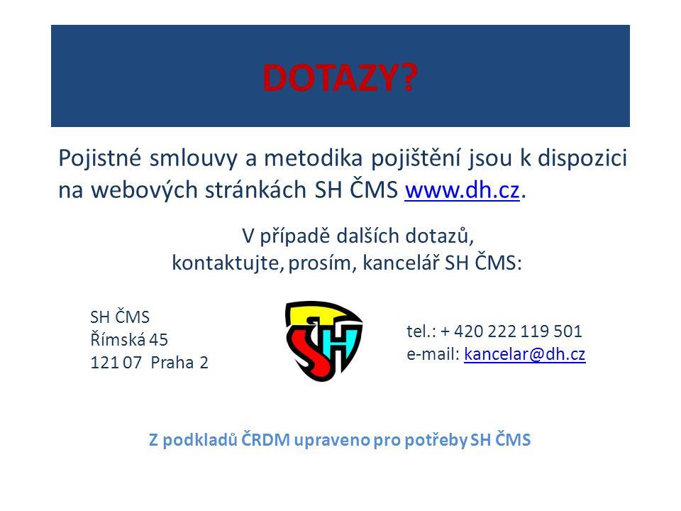 DOTAZY? V případě dalších dotazů, kontaktujte, prosím, kancelář SH ČMS: SH ČMS Římská 45 121 07 Praha 2 tel.: + 420 222 119 501 e-mail: kancelar@dh.cz