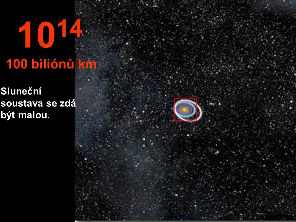 Z této výšky našeho výletu můžeme pozorovat sluneční soustavu a oběžné dráhy planet. 10 13 10 bilionů km