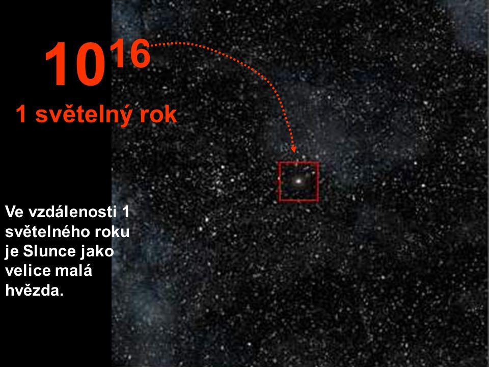 Uprostřed tisíce hvězd je Slunce jako malá hvězdička. 10 15 1 trilión km