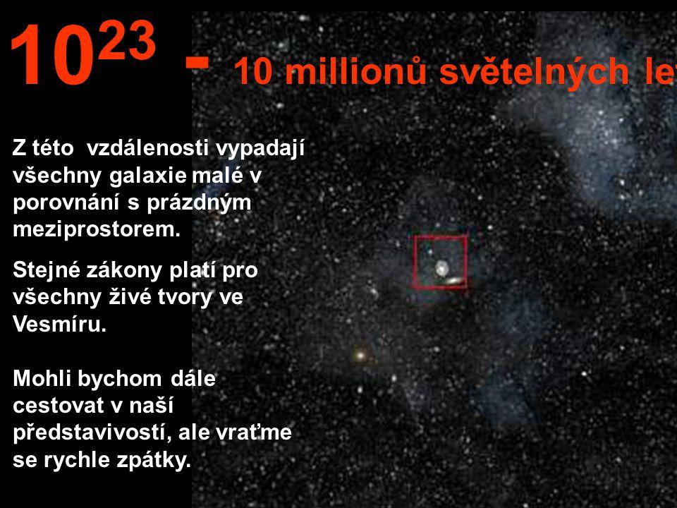 Z této nesmírné vzdálenosti bychom mohli vidět celou Mléčnou dráhu i ostatní galaxie. 10 22 1 milión světelných let.