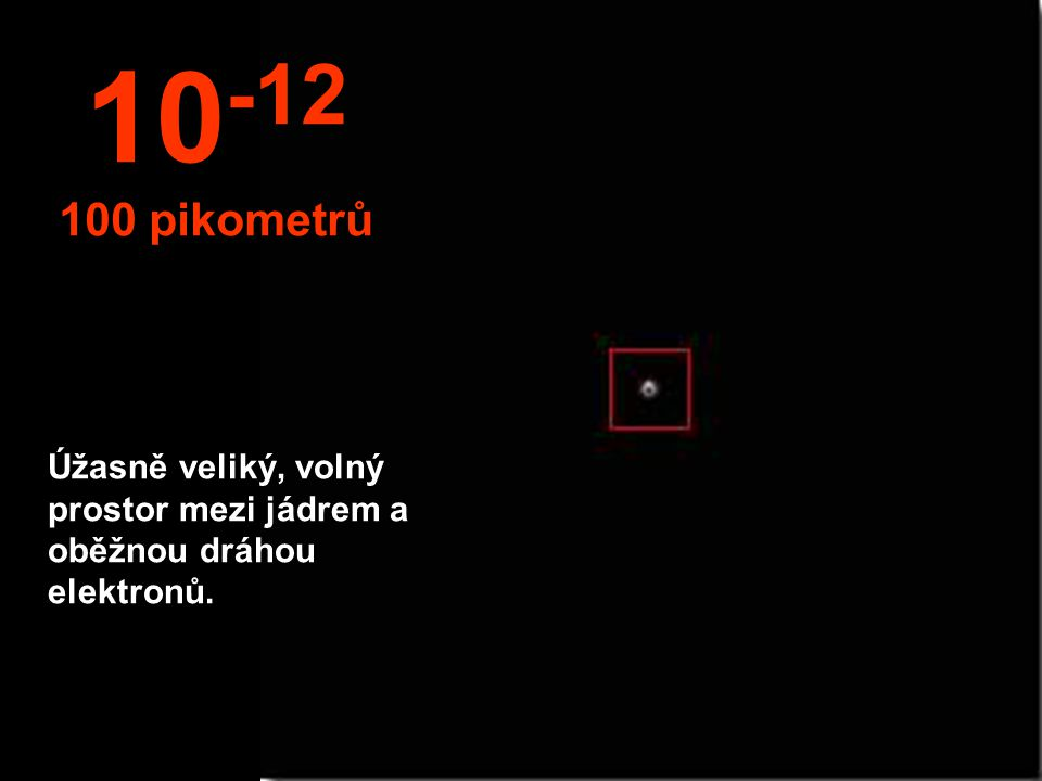 V tomto miniaturním světě můžete pozorovat elektrony obíhající kolem atomů. 10 -11 10 pikometr