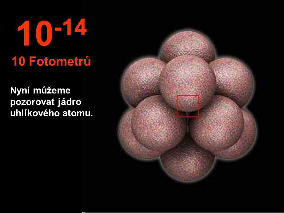 V této neuvěřitelné mínusové velikosti můžeme pozorovat jádro atomu. 10 -13 1 Fotometr