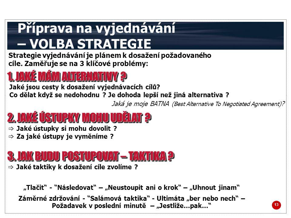 13 Příprava na vyjednávání – VOLBA STRATEGIE Strategie vyjednávání je plánem k dosažení požadovaného cíle.