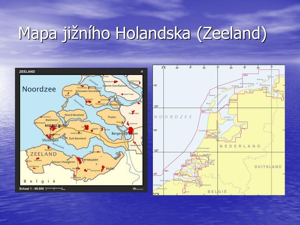 Mapa jižního Holandska (Zeeland)
