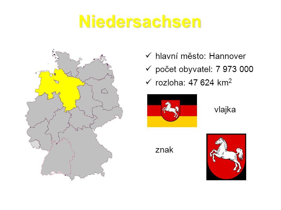 Niedersachsen  hlavní město: Hannover  počet obyvatel: 7 973 000  rozloha: 47 624 km 2 vlajka znak