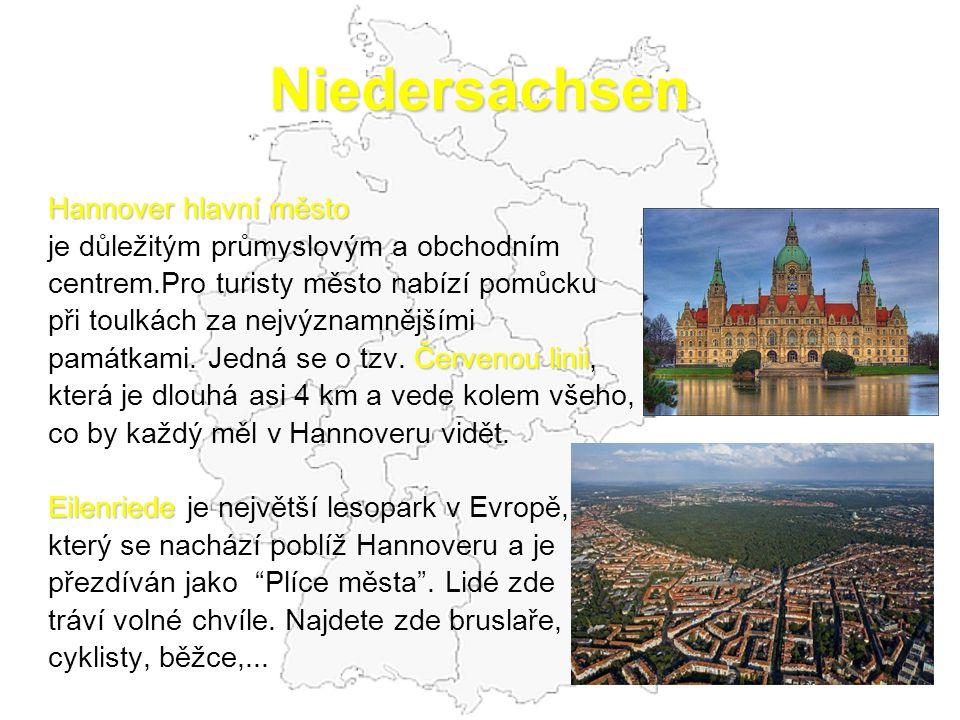 Niedersachsen Hannover hlavní město je důležitým průmyslovým a obchodním centrem.Pro turisty město nabízí pomůcku při toulkách za nejvýznamnějšími Čer