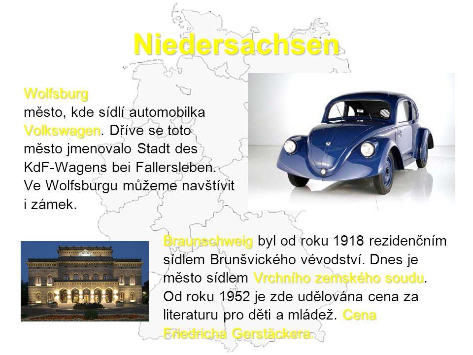 Niedersachsen Wolfsburg město, kde sídlí automobilka Volkswagen Volkswagen. Dříve se toto město jmenovalo Stadt des KdF-Wagens bei Fallersleben. Ve Wo