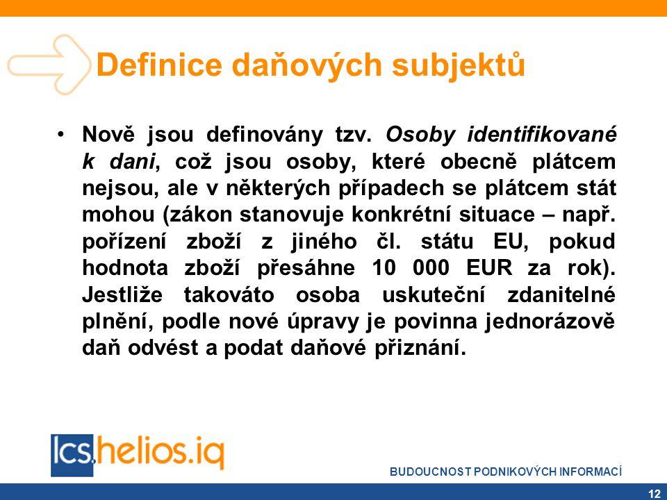 BUDOUCNOST PODNIKOVÝCH INFORMACÍ 12 Definice daňových subjektů •Nově jsou definovány tzv. Osoby identifikované k dani, což jsou osoby, které obecně pl
