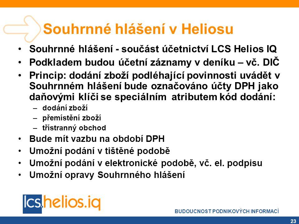 BUDOUCNOST PODNIKOVÝCH INFORMACÍ 23 Souhrnné hlášení v Heliosu •Souhrnné hlášení - součást účetnictví LCS Helios IQ •Podkladem budou účetní záznamy v
