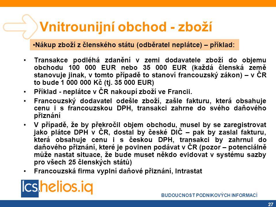 BUDOUCNOST PODNIKOVÝCH INFORMACÍ 27 Vnitrounijní obchod - zboží •Transakce podléhá zdanění v zemi dodavatele zboží do objemu obchodu 100 000 EUR nebo